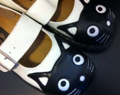 Black and White Cat Mary Jane Creepers: Anarchic, TUK size 11