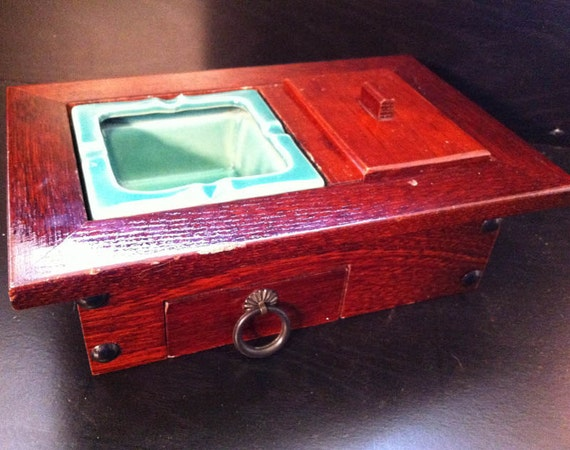 SALE! Red Wood and Ceramic Cigarette Box: Art Deco, Retro