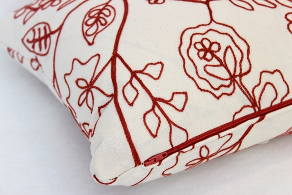 Designer Lumbar Pillow Cover, Ivory Linen with Red Embroidered Flowers- Fully Lined