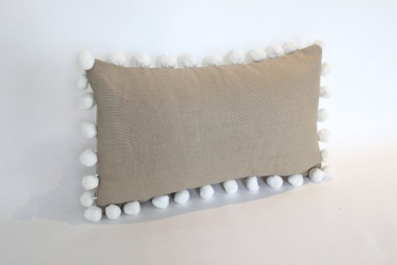 Lumbar Pillow Cover,  Latte Colored Linen with White Pom Pom Fringe