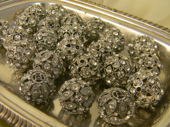 RHINESTONE Balls Large 23mm these are FABULOUS Limited Stock Large 1.5mm Hole