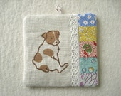 PATCHWORK WALL HANGING - hand lino printed Jack Russell Terrier