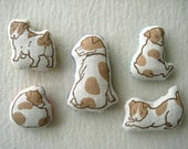 Set of 5 MINIATURE DOLLS -  hand lino Printed, Jack Russell Terrier  family
