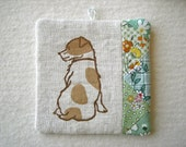 PATCHWORK WALL HANGING - hand lino printed Jack Russell Terrier, shade of green