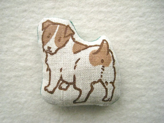 MINIATURE DOLL -  hand lino Printed, Jack Russell Terrier