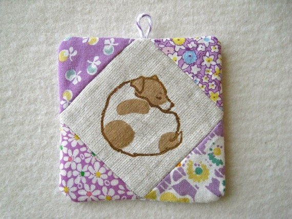 PATCHWORK WALL HANGING - hand lino printed Jack Russell Terrier, shade of purple
