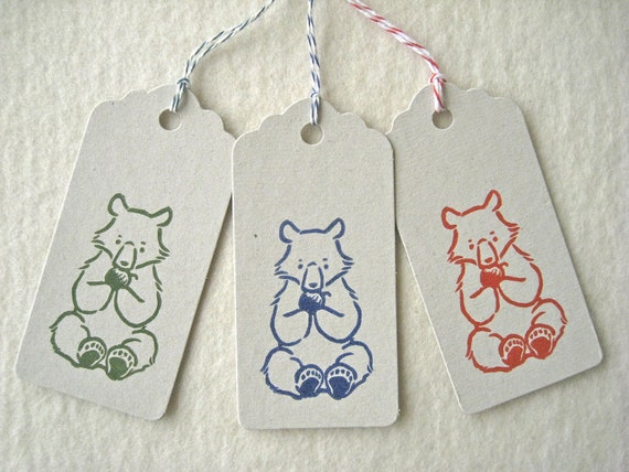 Set of 3 Hand Lino Printed Gift Tags  - bear cub eating an apple