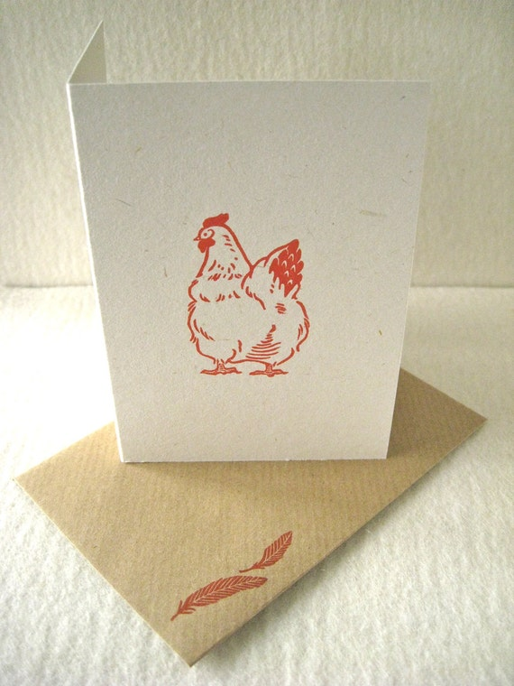 CHICKEN GREETINGS CARD - Hand lino printed, for all occations
