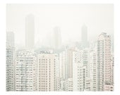 architecture . fog . city . spring - silence series - contemporary landscape photography by Lam Pok Yin . white . architectural . HK . xmas