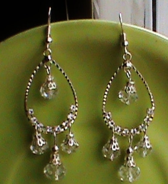 Chandelier earrings,cristal and stone,sterling silver,bollywood jewelry