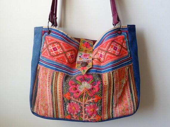 repurposed medium ethnic hmong hill tribe tote / bag