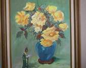 Vase of Yellow Roses painting