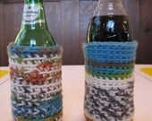 Beautiful, crocheted bottle or pint-glass cozy (or coozie or koozie)