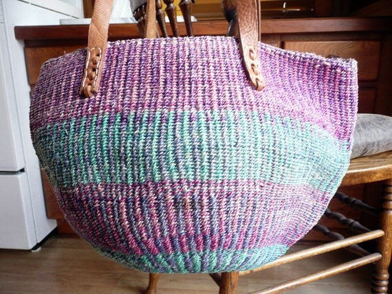 Colorful Festive Vintage Boho Hippie Woven Sisal Market Bag Tote L