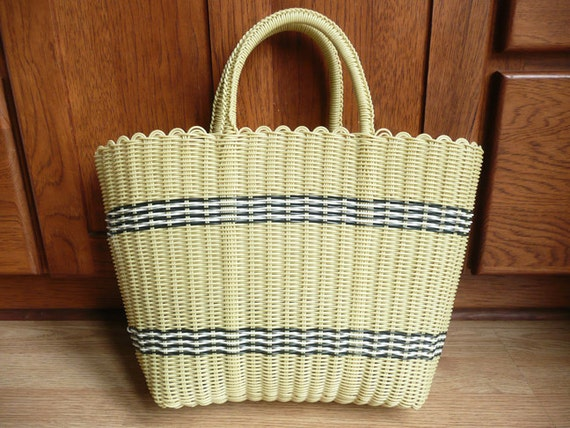 Vintage Summer Beach Tote Plastic Straw Yellow Large