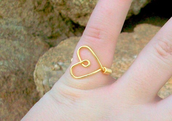 Wire Heart Rings - Custom Size and Color