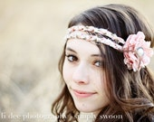 BOHO BEAUTY - pink headband with removable flower clip