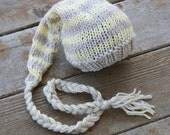 Newborn girl boy hat knitted photo prop in stripes of grey and yellow elf hat stocking cap