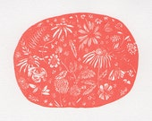 """Gocco screen print """"red flowers"""" limited edition of 20"""