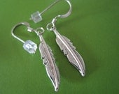Silver Tribal Feather Earrings on Sterling Silver French Hook
