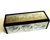 Tea caddy box pewter embossed cup scroll design matt black wood