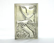 Metal Embellishment Modern Lady Pewter Repousse