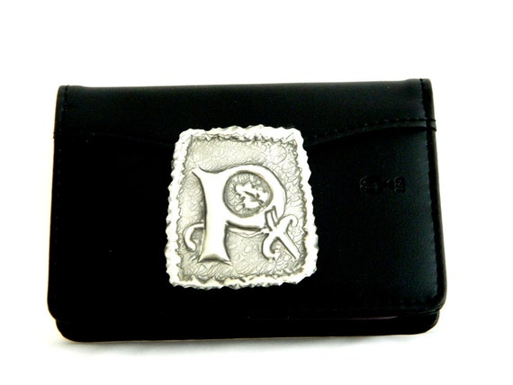 Leather Credit Card Holder Personalised Pewter Initial