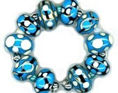 Handmade USA Lampwork Glass Beads Turquoise White Ivory Black Bead Set