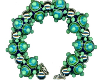 "Handmade USA Lampwork Glass Bead Green Blue Layered Dot ""Speed Bump"" Bead Set"