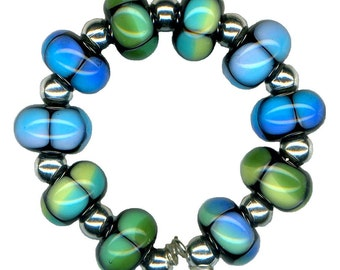 Handmade USA Lampwork Glass Beads Blue Teal Turquoise Green Aqua Rainbow Blend Beads