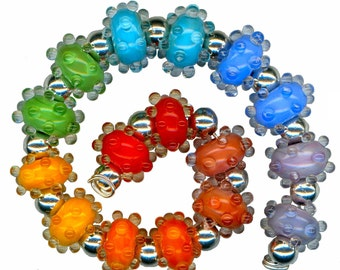 Lampwork Glass Beads Rainbow Water Drops Karma Bead Set
