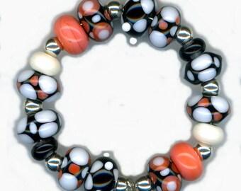 Lampwork Glass Beads Coral Black Ivory Geometric Pattern Bead Set