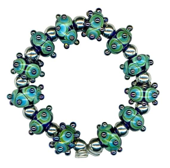 Handmade USA Lampwork Glass Beads Blue Teal Triton Raised Dot Double Helix Beads