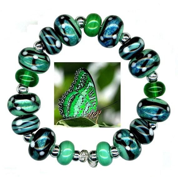 Handmade USA Lampwork Glass Beads Butterfly Green Blue White Bead Set
