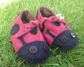 Baby Wool Felt Ladybird Booties