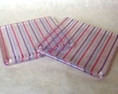 Pink and Purple Pinstripe Fused Glass Coasters - Pair