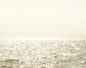"Nautical Ocean Sea Horizon Line - Fine Art Photography - 8 x 10 print - Sunny Washed Out Sky - Romantic Seashore decor - ""Sea and Sky Ombre"""