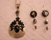 """Vintage Style Necklace and Earrings Set Black and Silver Floral Scroll Design - 19"""" Silver Chain"""