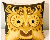 "Owl Cushion cover yellow brown gold bird in soft cotton large size pillow 16"" x 16"""