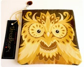 Owl coin purse / pouch in yellow brown gold bird design with zip and glass charm