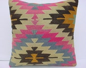 "MODERN Bohemian Home Decor, Turkish Kilim Pillow Cover  20"" X 20"",Tribal Pillow,Vintage Kilim Pillow, Kilim Ebroidery Pillow"