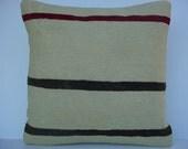 "ORGANIC Modern Bohemian Home Decor,Turkish Kilim Pillow Cover  16"" X 16"",Tribal Pillow,Vintage Kilim Pillow,Soft Kilim Pillow,Throw Pillow"