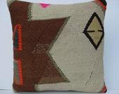 "MODERN Home Decor,Handwoven Turkish Kilim Pillow Cover  16"" X 16"",Decorative Pillow,Vintage Kilim Pillow,Throw Pillow"