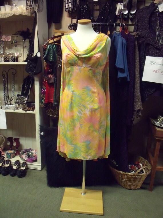1950s/60s vintage dress, chiffon, sherbet colors