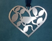 Bird In Heart Pendant, Silhouette Cut out.