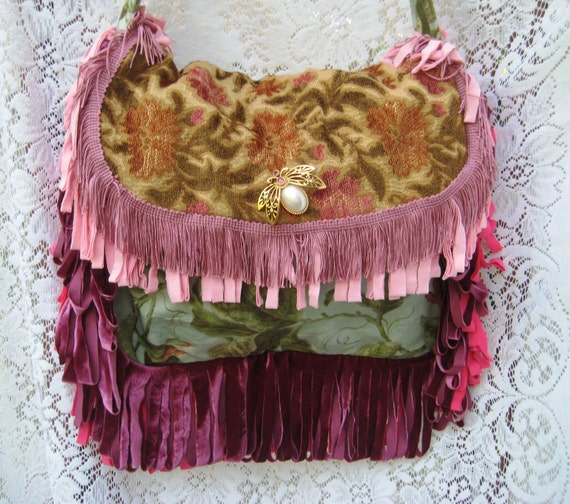 Gypsy Purse Carpetbag Summer Purse Bohemian Bubblebee and Dragonfly Bag