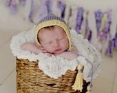 Newborn Baby Girl Bonnet Hat...Hand Knit Spring Lilac and Yellow Baby Pixie Bonnet... Newborn Photo Prop Hat... Newborn Spring or Easter Hat