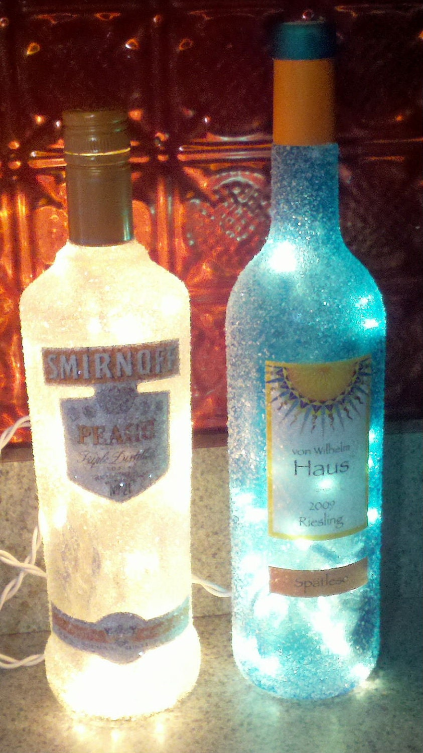 Decorated wine liquor bottles for Decorating wine bottles with glitter