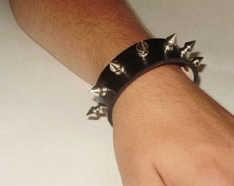 Black Leather Spike Bracelet