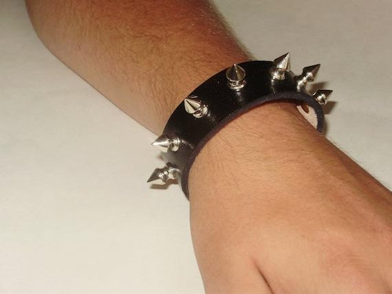 Black Leather Spike Bracelet